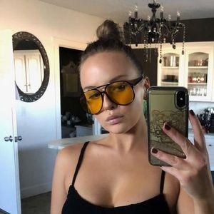 Retro Large yellow Glasses UV Protection